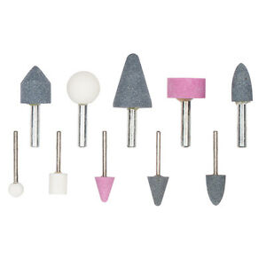 10pc Drill Grinding Mounted Stone Bit Set Die Stones Craft Grinder Metal Plastic