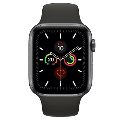 NUEVO Apple Watch Series 5 (GPS) 44mm Gray Aluminum Caja Negro Sport Band MWVF2