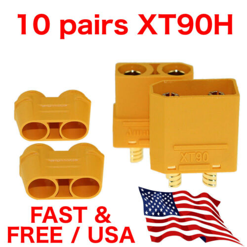 10 Pairs Amass XT90H Connector Male Female with Protective Cover RC Lipo Battery