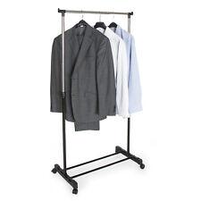 Portant à Vêtements Penderie Mobile Valet de Chambre Réglable 4 Roulettes Noir