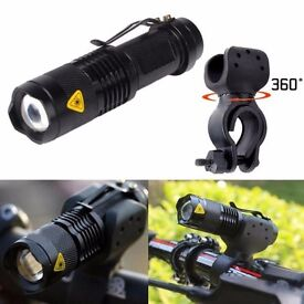 x2 led light 3 mode waterproof zoomable plus holder