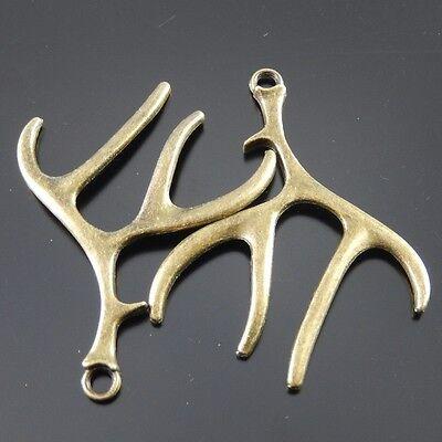 10pcs Antiqued Bronze Vintage Alloy Aniaml Deer Antler Pendant Charms 32571