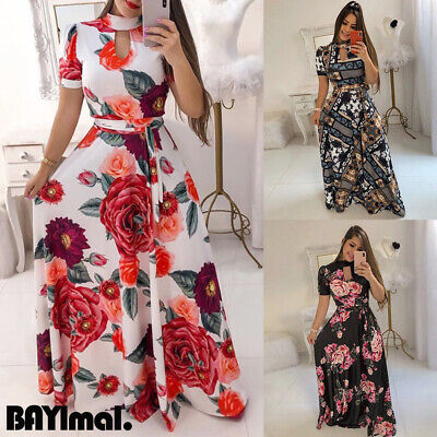 Women Short Sleeve Party Long Maxi Dresses Ladies Summer Holiday Dress Plus Size