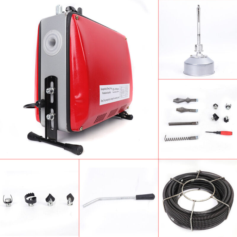 """Electric 3/4""""-6""""Ø Spiral Pipe Drain Cleaner Cleaning Machine Commercial Sewage"""