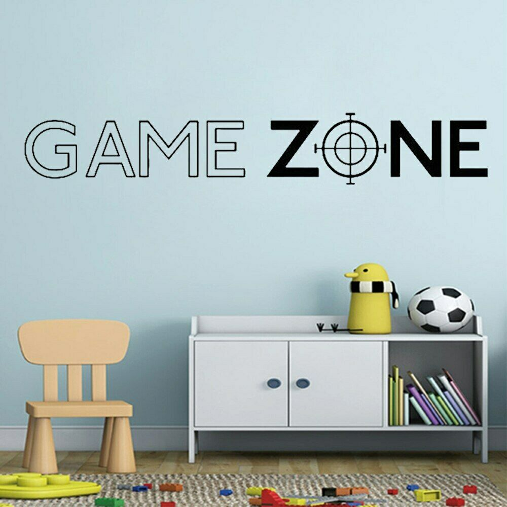 Home Decoration - Game Zone Play Quote Wall Art Stickers Decals Door Home Decoration Vinyl Mural