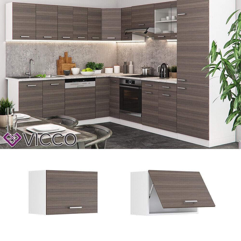 VICCO Küchenschrank Hängeschrank Unterschrank Küchenzeile R-Line Hängeschrank 60 cm (flach) edelgrau