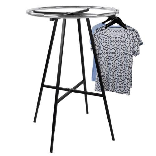 """Black Chrome 36"""" Round Clothing Rack Height 48 - 72"""" H Leveler Glides Garment"""