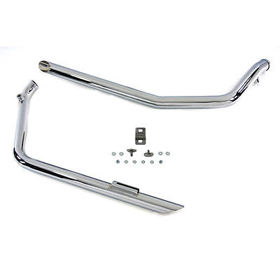 Chrome Slash Cut Drag Pipes Exhaust for 2007-Up Harley Softail FXST