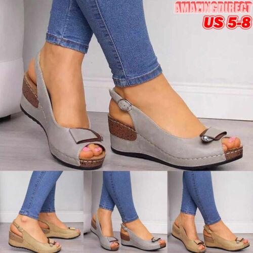 Women Wedge Heel Sandals Summer Platform Heel Shoes Peep Toe