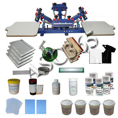 4 Color 2 Station Silk Screen Printing Press&Starter Material Package New Kit