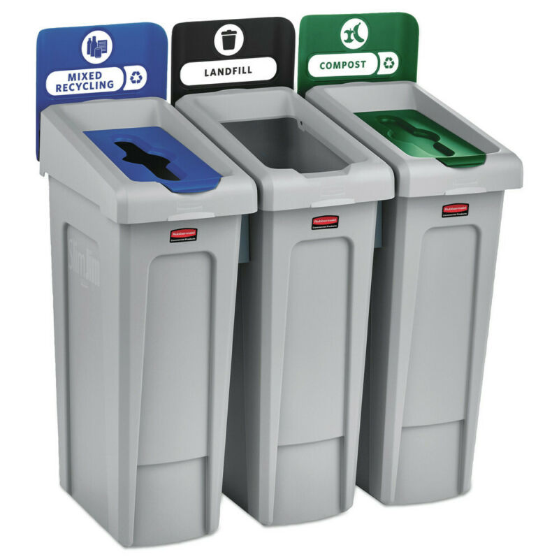 Rubbermaid Commercial 2007918 69 gal. 3 Stream Recycling Station Gray New