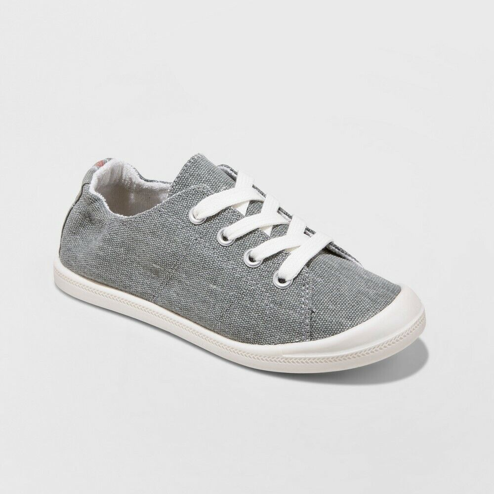 Girls Mad Love Shana Scrunch Canvas Slip On Grey Sneakers – Size 2 Clothing, Shoes & Accessories