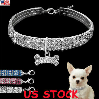 US Bling Dog Necklace Collar Diamante Pendant For Pet Puppy Rhinestone Accessory - Puppy Necklace