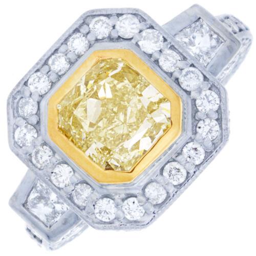 GIA Fancy Yellow Cushion Cut Diamond Engagement Ring 3.00 Carat Platinum