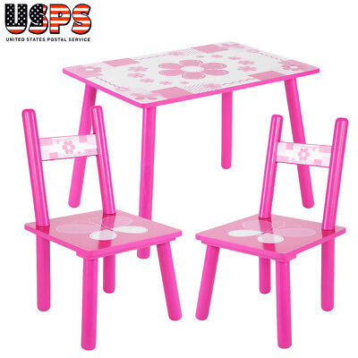 3 PCS Dining Set Table and 2 Chairs Kitchen Furniture Home For Baby Kids Pink ()