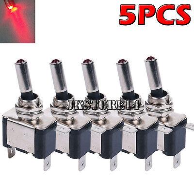 5 X 12V 20A Red LED Light Rocker Toggle Switch SPST ON/OFF Car Truck ()