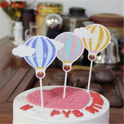 6pcs Happy Birthday Cake Topper Hot Air Balloon Clouds Party Supplies Favor YXGE