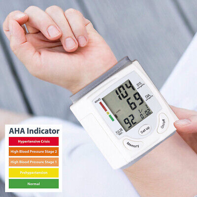 USA Automatic Digital Wrist Blood Pressure Monitor BP Cuff Machine  Device LCD