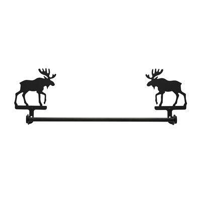 Wrought Iron Moose Towel Bar Holder Bathroom Hardware NEW Black Decor 24