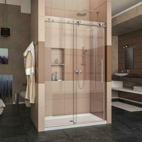 HM 44 in. to 48 in. x 76 in. Frameless Sliding Shower Door in Brushed Stainless