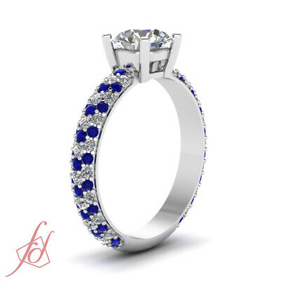 Blue Sapphire Pave Engagement Rings Women 1.10 Ct Round Cut F-Color Diamond GIA 2