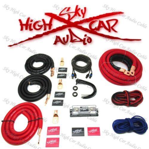 1/0 Ga AWG Amp Kit and 1/0 GA Big 3 Upgrade Red Black Sky High Car Audio