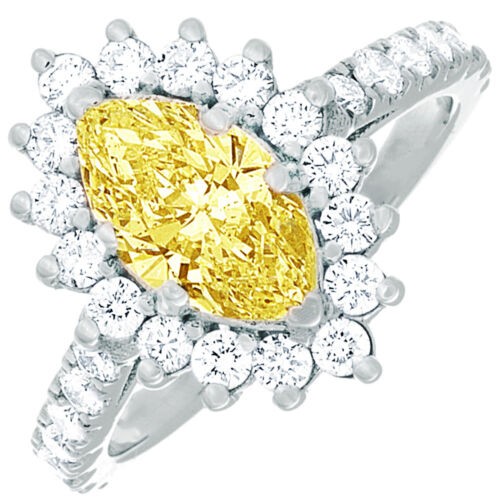 Fancy Yellow GIA Certified 2.43 CTW 18k Marquise & Round Diamond Engagement Ring
