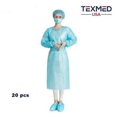 20pcs Disposable Isolation Gown Elastic Cuff Dental Medical Blue