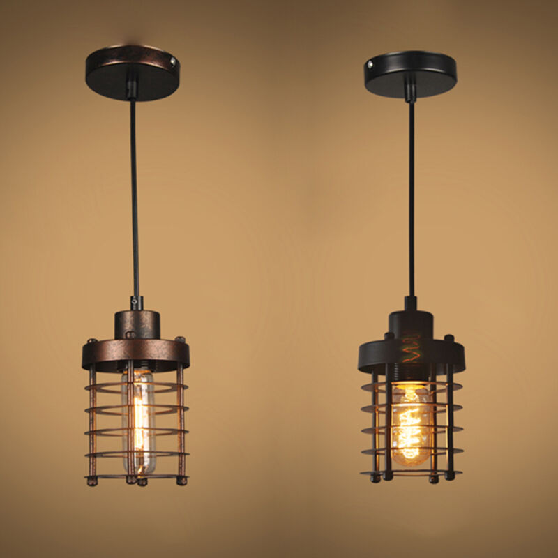 Details About Loft Metal Cage Ceiling Light Edison Pendant Lamp Lighting Fixtures