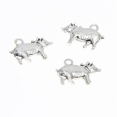 (10piece/lot Pig Charm silver Tone Prize Pig with Bow pendants animal 20x15mm)