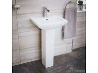 Full Pedestal Basin ; 460mm Square White Ceramic Sink ; 1 Tap Hole
