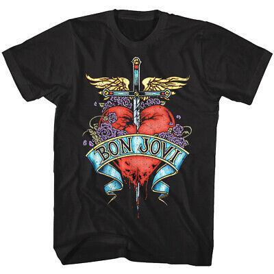Bon Jovi Pierced Heart Tattoo Men's T Shirt Rock Band Album Tour Music Merch Top ()