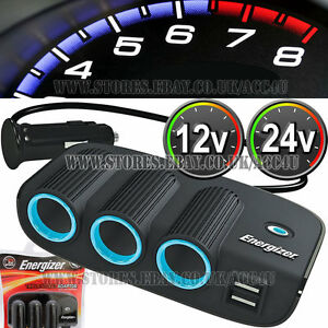Energizer 12v 24v 3 Way Car Lighter Multi Socket Twin USB Charger Adapter 50505