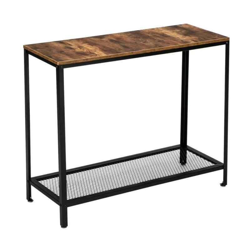 Sofa Side Console Table with Storage Shelves Narrow Accent Table for Living Room