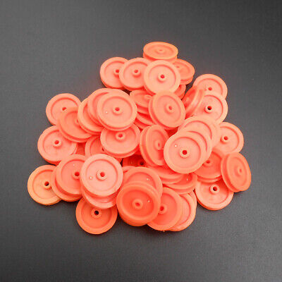 50pcs Plastic Pulley Gear Motor Wheels Dia 16.5mm Shaft Dia.2mm 1.95mm Orange Hq