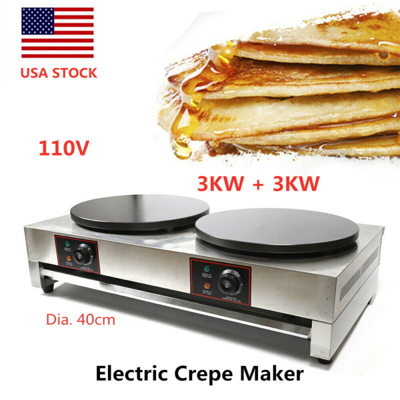 Commercial Electric Crepe Maker Pancake Baker Machine Double Hotplate Non Stick