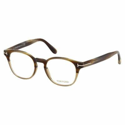 New Authentic Tom Ford Men's Square Eyeglasses Beige Horn w/Demo Lens FT5400 65A