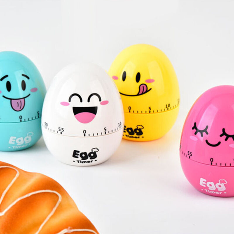 60 min Kitchen Timer Cartoon Egg Shaped Cooking Mechanical Countdown Alarm