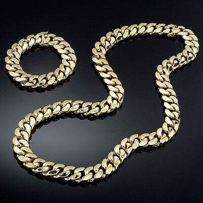- 14K Gold Plated Miami Cuban Heavy Link Hip Hop Chain and Bracelet Set For Men