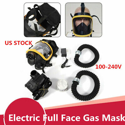Electric Constant Flow Supplied Air Fed Full Face Gas Mask Respirator System Hot