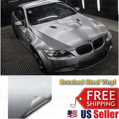 "108""x60"" Premium Silver Brushed Aluminum Metal Steel VinylWrap Sticker FilmDecal"