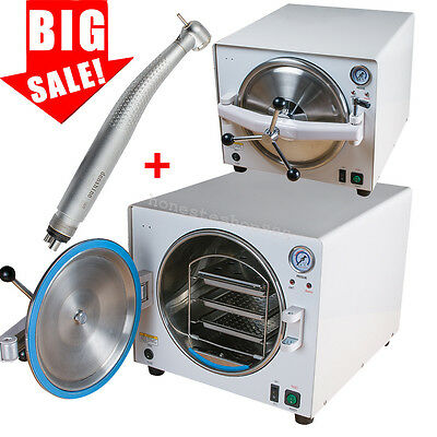 18l 900w Medical Autoclave Steam Sterilizer Dental Lab Equipment Gfit Handpiece