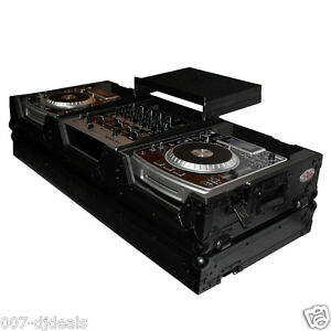 DJ COFFIN BLACK CASE LAPTOP SHELF 2 LARGE CD 10 12