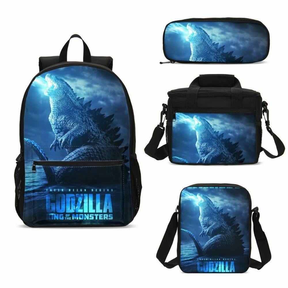 Godzilla Kids Schoolbag Set Boy Large Backpack Insulated Lunch Bag Cool Gift Lot