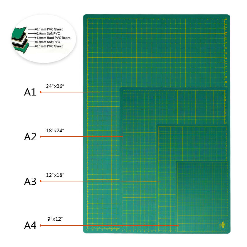 A1 A2 A3 A4 Cutting Mat Self Healing Board Cutter Printed Grid PVC Fabric Craft