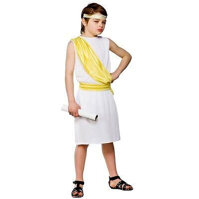 BOYS ANCIENT GREEK ROMAN TOGA BOY FANCY DRESS COSTUME
