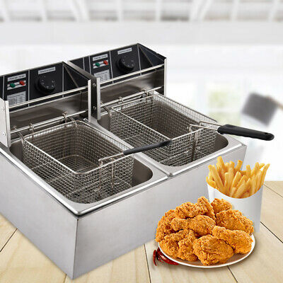 3600w Electric Deep Fryer Dual Tank Commercial Restaurant Stainless Steel 8l8l