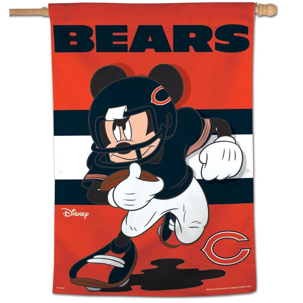 "CHICAGO BEARS MICKEY MOUSE DISNEY 28""X40"" BANNER VERTICAL FL"