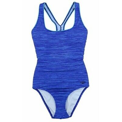 Speedo Women's Racerback Athletic Training One Piece Swimsuit Blue Space (Women's Athletic Bathing Suits)
