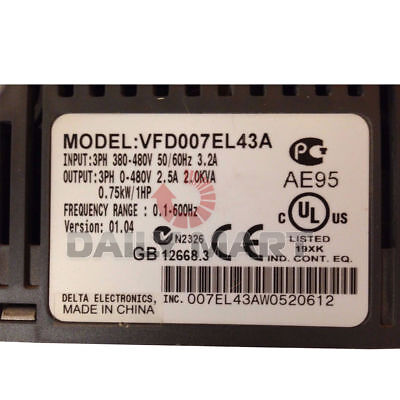 New Delta Vfd007el43a 1hp 460v Three Phase Input Ac Motor Micro Drive Inverter